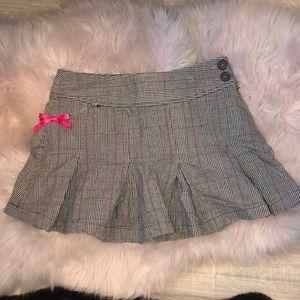 Plaid skirt bow detail Y2k pleated plaid pink